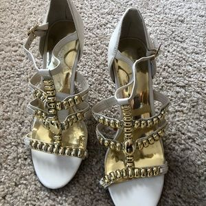 Gorgeous beige and gold studded INC heels